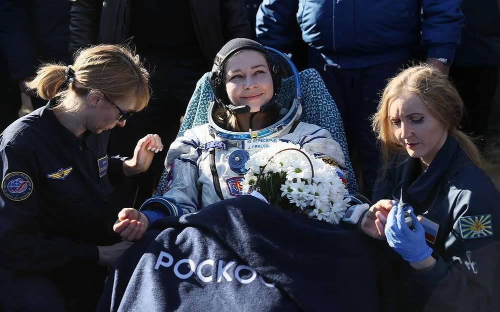 This week in photos: Peresild's return from ISS, chapel disinfection, McGregor's waxwork. Images | Actress Yulia Peresild (center) after the landing of the descent vehicle of the Soyuz MS-18 spacecraft, Kazakhstan, October 17. Peresild and director Klim Shipenko spent 12 days on the International Space Station filming The Challenge and became the first in the world to shoot a feature film in space |tass.com